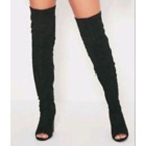 Torrid Boots Thigh High Wedge Peep Toe